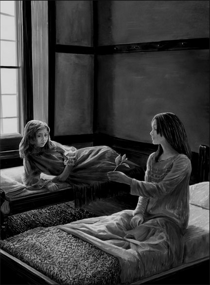 girls on bed drawing